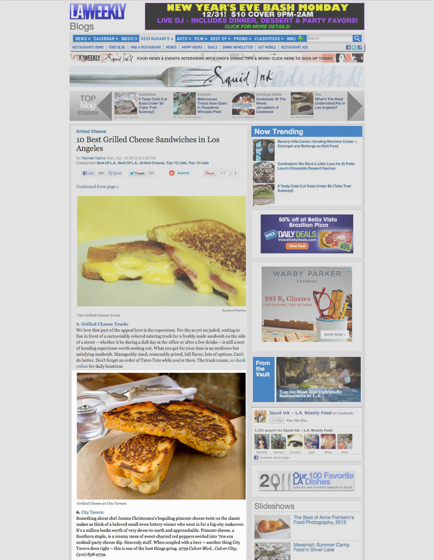 10 Best Grilled Cheese Sandwiches in Los Angeles by LA Weekly